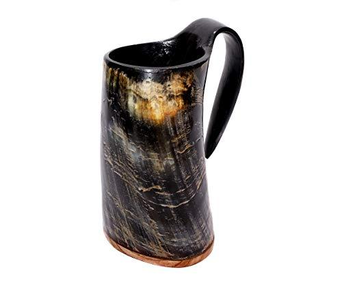 Brillibrum Design Drinkhoorn Set Echte Rundhoorn Gepolijst met Houder Viking Drinkbak Gemaakt van Hoorn met Metalen Stand Unieke Middeleeuwse Viking