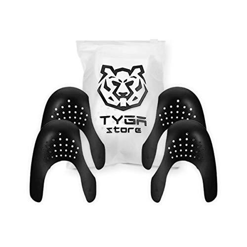TYGA Store - 2 paia di protezioni universali per scarpe da ginnastica, protezione per le pieghe delle scarpe contro le pieghe delle scarpe per uomini e donne, protezione anti pieghe, 35-46 (Nero)