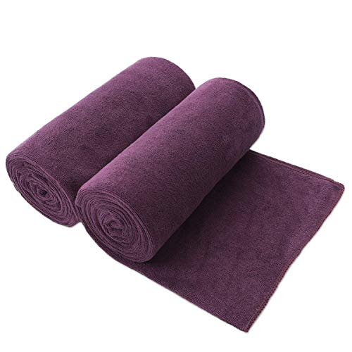 JML Bath Towels, Microfiber Towels (2 Pack, 30'x 60') - Super Absorbent, Quick Drying, Shed and Fade Resistant Fitness Towel, Purple