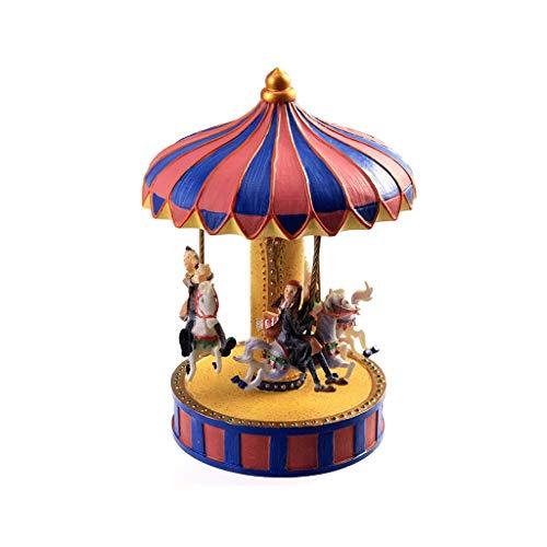 GZQDX Clásica del Caballo del carrusel Caja de música Luces parpadeantes Resina Tallada de Colección mecánica Musical Box, una Gira Caballo con Música