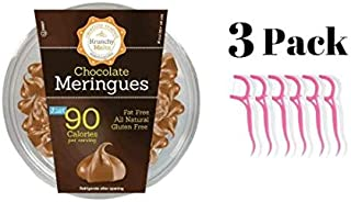 Krunchy Melts' Chocolate Meringue Cookies 4 Oz Tub (3 pack) with 20ct Dental Flossers in a Prime Time Direct Sealed Bag