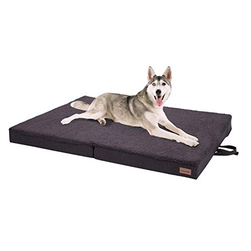 brunolie Paco klappbares Hundebett in Grau, waschbar, orthopädisch und rutschfest, Hundekissen mit atmungsaktivem Memory-Schaum, Größe XL 120 x 85 cm