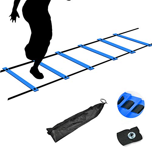 TNZMART Agility Ladder Speed Ladder 6Rung10FT 12Rung20FT Training Equipment for Football Soccer Basketball with Carrying Bag (10FT, Blue)
