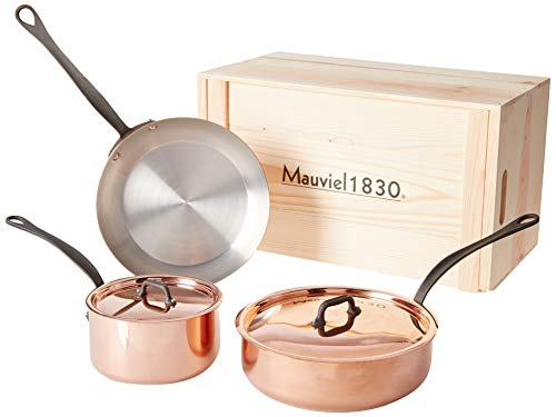 Mauviel M'Heritage M150C2 -5 Piece Copper Cookware Set with crate Cast Stainless Steel Handle with Iron Color Finish