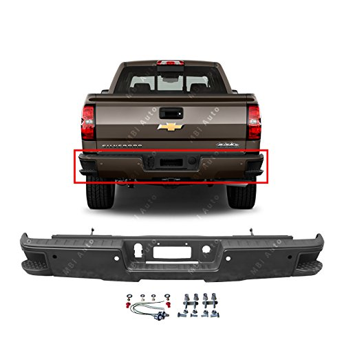 MBI AUTO - Primered, Steel Rear Bumper for 2014-2018 Chevy Silverado & GMC Sierra 1500 W/Corner Steps 14-18, GM1103179