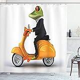 ABAKUHAUS Lustig Duschvorhang, Italienisches Frosch-Motorrad, mit 12 Ringe Set Wasserdicht Stielvoll Modern Farbfest & Schimmel Resistent, 175x180 cm, Orange Schwarz Grün