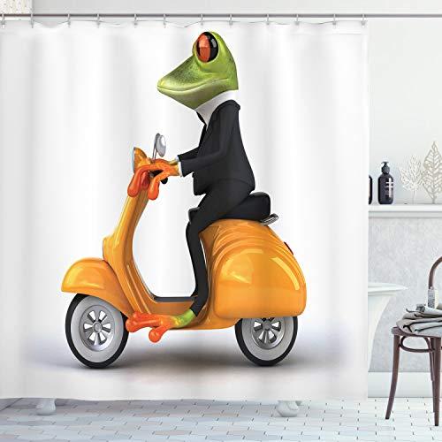 ABAKUHAUS Lustig Duschvorhang, Italienisches Frosch-Motorrad, mit 12 Ringe Set Wasserdicht Stielvoll Modern Farbfest & Schimmel Resistent, 175x200 cm, Orange Schwarz Grün