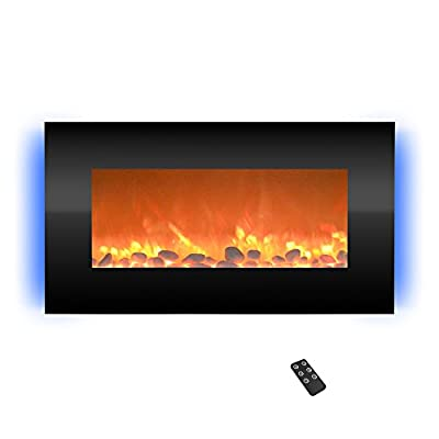 """Northwest 80-BL31-2001 Electric Fireplace-Wall Mounted with 13 Backlight Colors, Adjustable Heat and Remote Control-31 inch, 31"""", Black"""