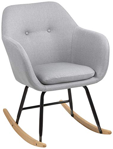 AC Design Furniture Mecedora AC Design Furniture 65041, Tela, Gris Claro, 71 x 57 x 81 cm