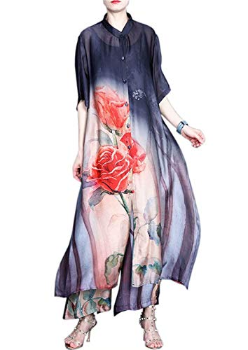 HangErFeng Silk Blend Printed Dresses Broad-Legged Trouser Suit Loose Comfortable Chinese Style 1586 Black
