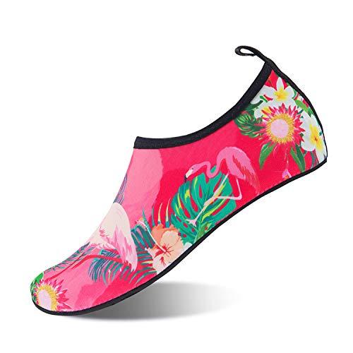 Scarpe da Immersione Scarpette da Bagno Mare Spiaggia Antiscivolo Scarpe Acqua Pantofole da Casa per Beach Surf Swim Yoga Scarpe a Piedi Nudi dell'Acqua Scarpe Acquatici per Donna Uomo(Rosa 42 43)