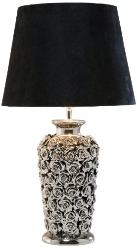 Kare Design Tischleuchte Rose Multi, moderne Design Nachttischlampen mit schwenkbarem Stoffschirm, Schwarz-Silber (H/B/T) 56x33x33cm