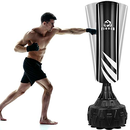 Figolo Freestanding Punching Bag with 13 Suction Cups Base for Adult Youth, Heavy Boxing Bag with Stand, Kickboxing Bag, MMA Home Gym | Black