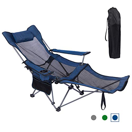 KEFOMOL Camping Lounge Chair, Portable Reclining Camping Chair, Folding Camping Chair with Footrest, Headrest & Storage Bag, Mesh Recliner with Backpack, 300lbs Weight Capacity (Blue)