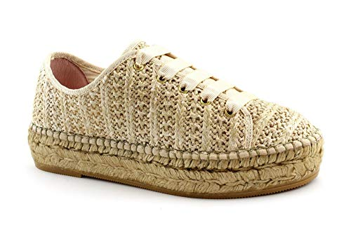 Macarena PATRI86 beige Taupe Schuhe Frau Espadrilles schnürsenkel plattform 40