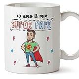 Mugffins papà Tazza/Mug - Super papà Migliore del Mondo - Idee Regali Festa del papà/Buon Compleanno/Tazze Originali di caffè. Ceramica 350 mL