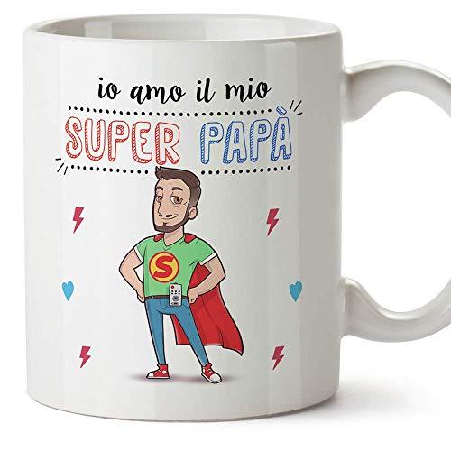 Mugffins papà Tazza/Mug - Super papà Migliore del Mondo - Idee Regali Festa del papà/Buon Compleanno/Tazze Originali di...