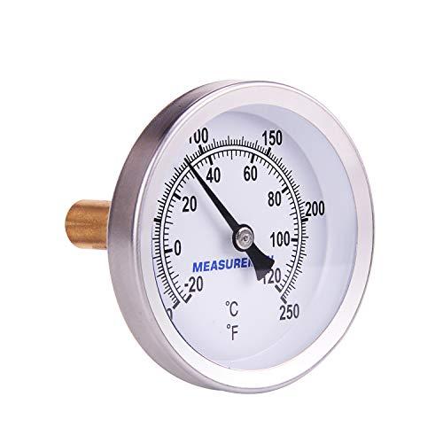 MEASUREMAN Hot Water Bi-Metal Thermometer, 2-1/2' Dial, 1-3/4' Lead-Free Brass Stem, Range 0-250 deg F/-20-120 deg C, 2% Accuracy, Adjustable, 1/2' NPT Back Mount