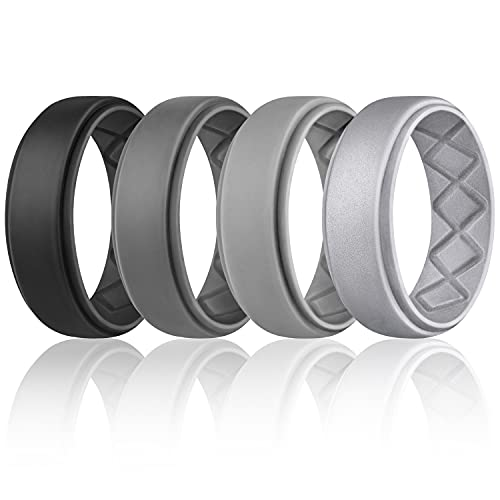 Egnaro Silicone Ring for Men, Breathable Mens Rubber Wedding Bands for Crossfit Workout, 8.5mm Wide - 2.5mm Thick