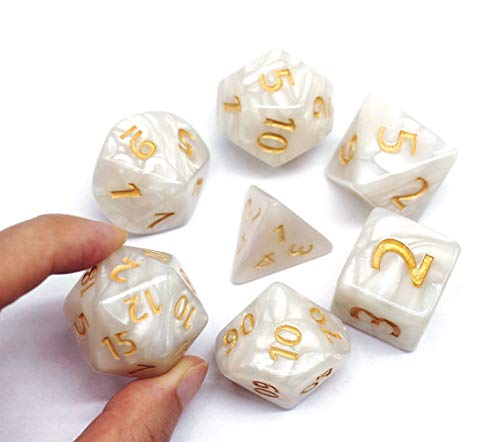HD Dice- 25mm DND RPG Dice Set for Dungeons and Dragons D&D Pathfinder MTG Role Playing Dice Giant White Polyhedral Dice with Dice Bag
