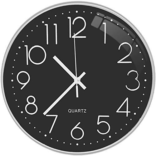 Lisedeer Reloj de Pared Redondo Moderno de Cuarzo silencioso de 30 cm, segundero silencioso sin tictac, para Oficina, hogar, Escuela (Plateado y Negro), 30 cm