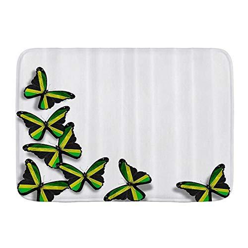 Popsastaresa Alfombrillas para baño, Mariposas jamaicanas Bandera Motivos Ilustración de Animales del Caribe Cultura Imprimir Verde Negro Amarillo,con Respaldo Antideslizante,29.5