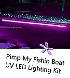 Green Blob Outdoors Pimp My Fishin Boat UV Boat Light kit Ultra Violet Black Light Strips Waterproof for Bass Boat Rub Rails,Pontoon, Night Fishing with Bonus Red & Green LED Navigation Light Strips