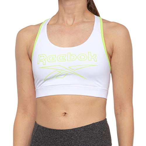 Reebok Women's Wireless Racerback Sports Bra - Medium Impact Athletic Active Fitness & Gym Bralette w/Keyhole Cutout - Stark White/Sharp Green Burst, X-Large