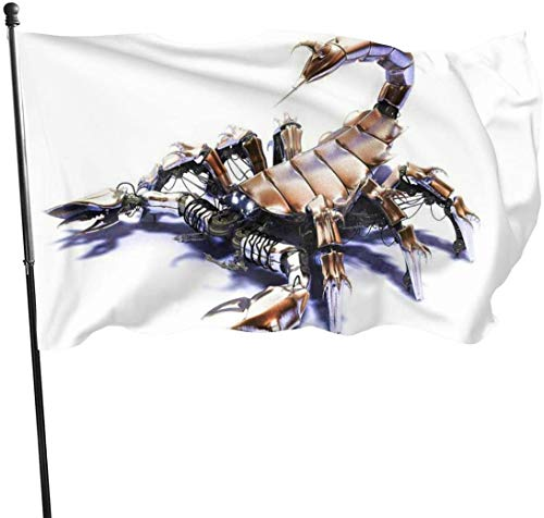 Viplili Banderas, Amazing 3D Scorpion Robot Fly Breeze 3x5 Ft. Polyester, Fade-Resistant and Durable Decorative Banner with Head and Brass Grommets for Easy Removal