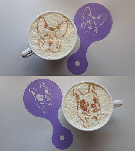 Frenchie Bulldogge Hund Kaffeetasse / Cappuccino Latte wiederverwendbare Schablone