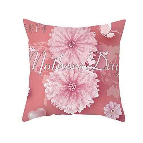 AtHomeShop Fundas de cojín de 50 x 50 cm, de poliéster con diseño de rosas feliz Día de la Madre, suave para casa, coche, salón, dormitorio, oficina, sofá, decoración, color rosa, estilo 16