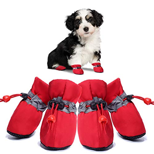 Dog Boots Anti-Slip Shoes Winter Paw Protector for Small Medium Dogs and Puppies 4PCS(red/4)