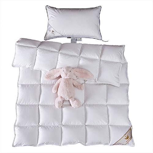ROSE FEATHER Toddler/Travel/Crib Goose Down Comforter Duvet/Blanket Multifunctional,100% Organic Cotton Hypoallergenic & Washable Unisex Kids,All Season,White 41x48