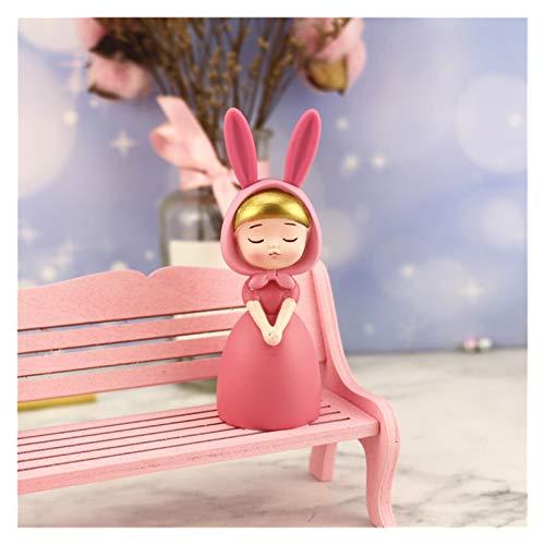 SMchwbc Cartoon-Figur, Figuren Resin Prinz Prinzessin Modell Miniatur Hot Toys Geschenke Crafts Kuchen-Backen-Supplies Schreibtisch-Auto-Dekoration (Color : Rabbit Girl B)