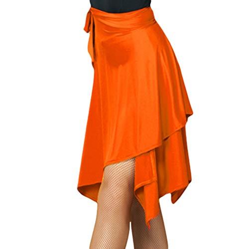 Damen Latin Tanzrock Hohe Taille Unregelmäßiger Saum Tanzkleid Seite Tunnelzug Lace-up Mini Rock Ballsaal Tango Chacha Salsa Samba Performance Practice Outfit
