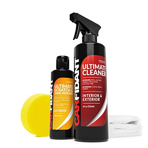 Carfidant Scratch and Swirl Remover + Car Interior Cleaner Kit - All Purpose Cleaner for Interior Carpet Seats and Paint Restoration and Car Polish Kit