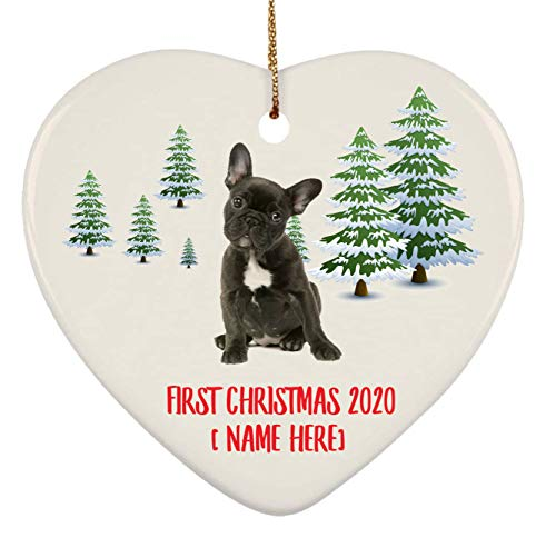 Personalized French Bulldog Dark Brown Ornaments First Christmas 2020 Tree On Winter Landscape Ceramic Heart