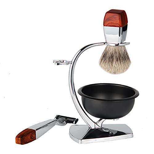 GOUDAN-QIU Set de afeitadora de barba for hombres,kit de afeitado de afeitado de seguridad de lujo for hombres,cepillo de pelo de tejón,crema de jabón de afeitado,soporte,taza de acero inoxidable,homb