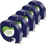 Fimax Ruban pour Étiqueteuse Compatible Dymo Papier LetraTag 12mm x 4m (Dymo LetraTag Paper White Label Tape 91200 S0721510) Recharge Dymo LetraTag LT-100H LT-100T XR 2000 (Pack de 5, Noir sur Blanc)