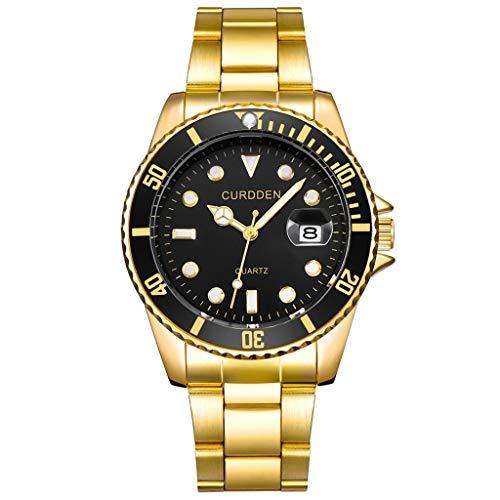 Armbanduhr männer Liusdh Uhren Mode Edelstahl Band Datum Sport Quarzlegierung Uhr(Gold,Einheitsgröße)
