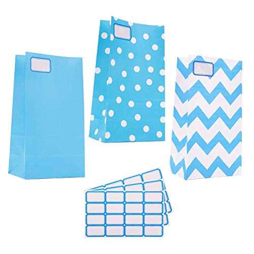 30 Packs Mini Paper WrappedBags Treat with Tag Stickersfor Birthdays,Baby Showers,School Lunches,Hanukkah,Care Packages,May Day Party Favors Bags (Blue)