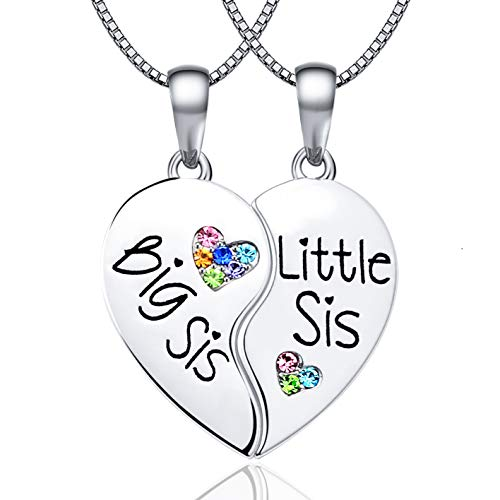 KINGSIN Sister Necklace for 2 Big Sister Little Sister BFF Pendant Necklaces Matching Heart Necklace Jewelry Gifts for Girls Women
