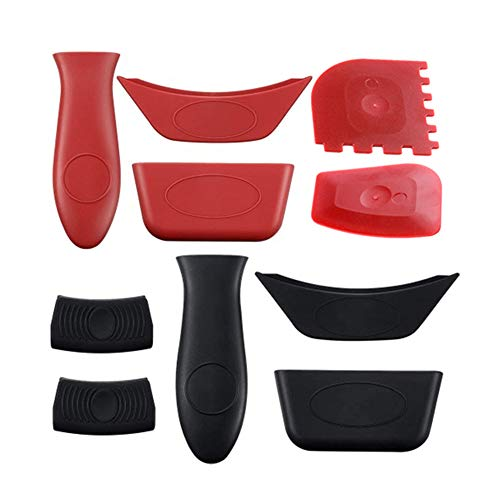YBENWL 10pcs/Set Silicone Hot Handle Holders and Pot Holders Cover, Heat Resistant Non Slip Pot Holder Sleeves for Frying Pan, BBQ and Home Use