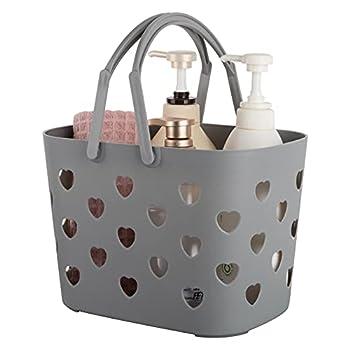 Anyoifax Portable Shower Caddy Tote Plastic Storage Basket with Handle Box Organizer Bin for Bathroom Pantry Kitchen College Dorm Garage - Grey