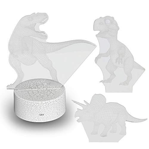 Preisvergleich Produktbild Hlearit Dinosaurier Nachtlicht - 3D Illusion Visuelle Lampe für Jungen Acryl LED Dinosaurier Schreibtisch Tisch Nachttisch Lampe