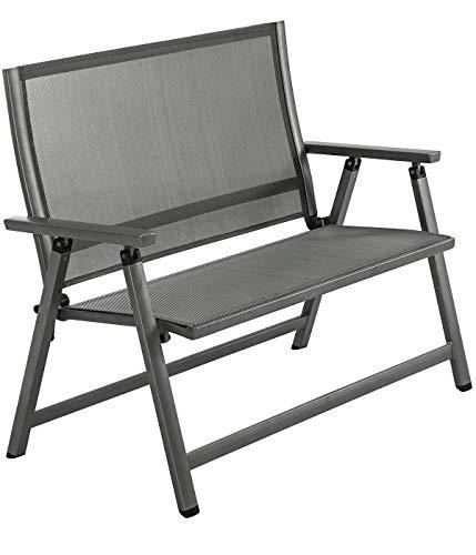 Dehner Klappbank Chicago, 2-Sitzer, ca. 106 x 97 x 59.5 cm, Aluminium/Kunststoff, grau