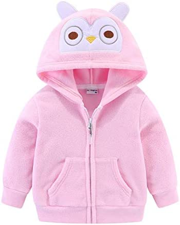 LittleSpring Fleece Hoodie for Baby Girl Long Sleeve Soft Warm Pink Owl 12 18 Months product image