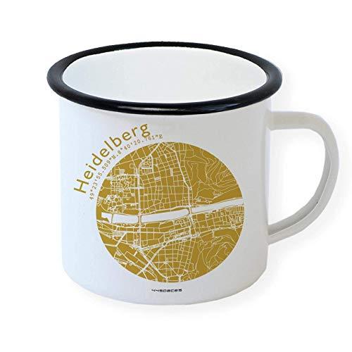 Heidelberg Emaille Tasse Retro Design Becher, Stadtplan in 5 Farben, Home Office Büro Zuhause Garten, Schwarzer Tassenrand