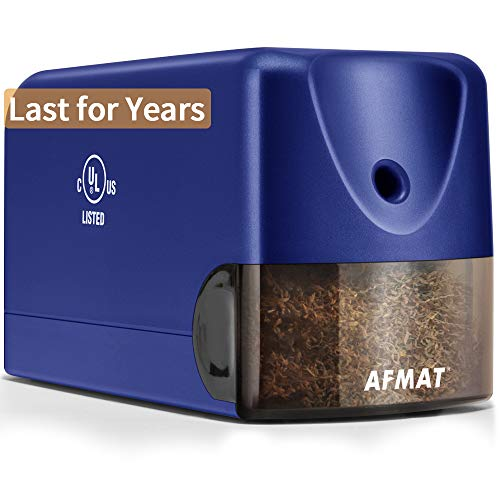 AFMAT Heavy Duty Electric Pencil Sharpener, Colored Pencil Sharpener for 6.5-8mm No.2 Pencils, UL Listed Heavy Duty Pencil Sharpener w/Stronger Helical Blade, Colored Pencil Sharpener-Blue