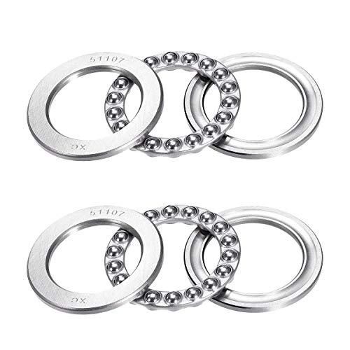 51107 Single Direction Thrust Ball Bearings 35mm x 52mm x 12mm Bearing Steel(2 Pcs)